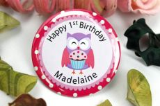 Personalised 1st Birthday Badge - Pink Owl