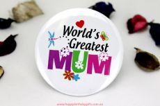 Worlds greatest Mum Badge -5cm