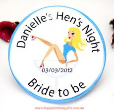 Personalised Hens Party Badge -Assorted- Blue