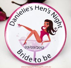 Personalised Hens Party Badge-Assorted -Pink