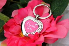 I Love You Valentines Heart Keyring Gift
