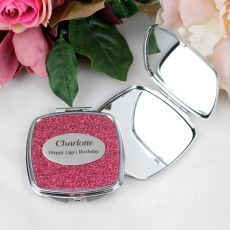 50th Birthday Personalised Glitter Compact Mirror