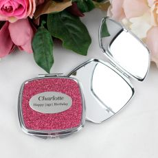 16th Birthday Personalised Glitter Compact Mirror