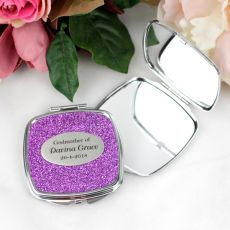 Godmother Personalised Compact Mirror Assorted Glitter Colours