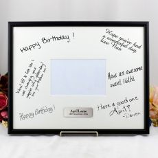 80th Birthday  Signature Frame Black / White 4x6 Photo
