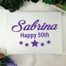 50th Birthday Guest Book Keepsake Album - A5 White