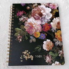 2021 Weekly Planner Calendar Midnight Floral