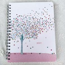 2021 Weekly Planner Calendar Tree of Hearts