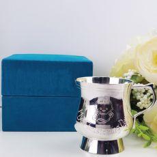 Baby Boy Christening Mug Silver Plated Blue Velvet Box