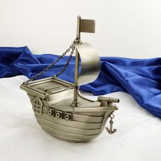 Pewter Baby Money Box - Pirate Ship