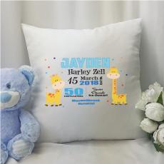 Baby Boy Birth Details Cushion Cover - Giraffe