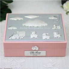Personalised Baby  Keepsake Box Gift - Pink