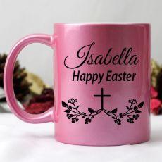 Happy Easter Pink Personalised Coffee Mug  - Floral Cross