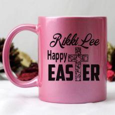 Happy Easter Pink Personalised Coffee Mug - Text Cross