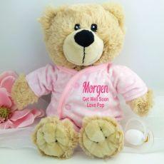 Get Well Teddy in Personalised Pyjamas -Pink