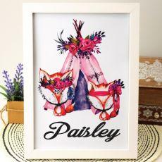 Personalised Framed Glitter Print - Pink Fox