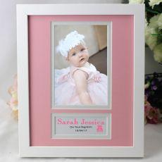 Baby Girl Baptism Photo Frame 4x6 White Wood