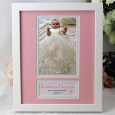 Baby Girl Christening Photo Frame 4x6 White Wood