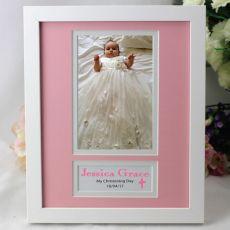 Baby Girl Christening Photo Frame 4x6 White Wood