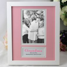 Personalised Grandma Photo Frame 4x6 White Wood Pink