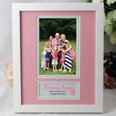 Personalised Nanna Photo Frame 4x6 White Wood Pink