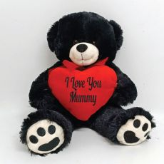 I Love You Mummy Black Bear Plush With Heart