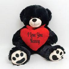 I love You Nanny Bear Black Plush with Heart