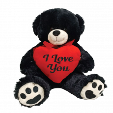 I love You Bear Black Plush with Heart