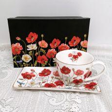 Breakfast Set Cup & Sauce - Poppies