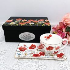 Breakfast Set Cup & Sauce in Personalised Box - Poppies