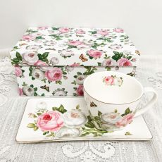 Breakfast Set Cup & Sauce in Gift Box - Butterfly Rose