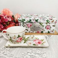Breakfast Set Cup & Sauce in Coach Box - Butterfly Rose