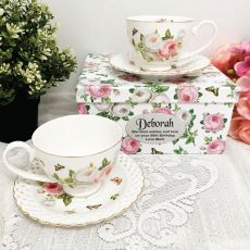 Cup & Saucer Set in 80th Birthday Box - Butterfly Rose