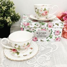 Cup & Saucer Set in Grandma Box - Butterfly Rose
