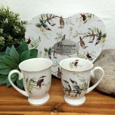 2pcs Kookaburra Mug Set in Personalised Heart Box
