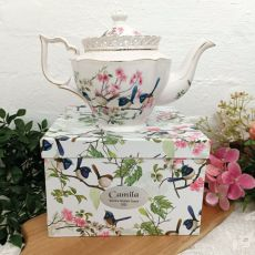 Teapot in Personalised Coach Gift Box - Blue Wren