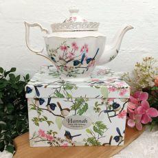 Teapot in Personalised Gift Box - Blue Wren