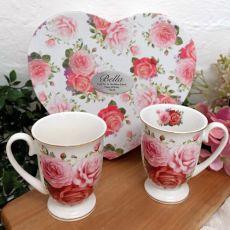 Pink Rose 2pce Mug Set in Birthday Heart Box