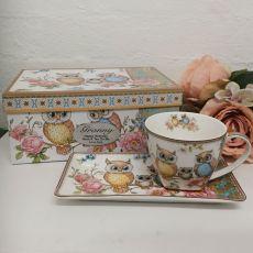 Owl Breakfast Set Cup & Sauce in Grandma Box