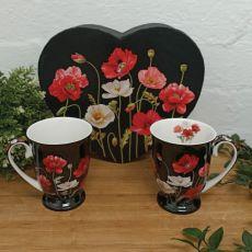 Poppies 2pcs Mug Set in Heart Box