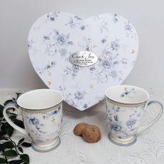 Mug Set in Personalised Coach Heart Box - Blue meadows