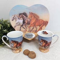 100th Birthday Mug Set in Personalised Heart Box - Horse