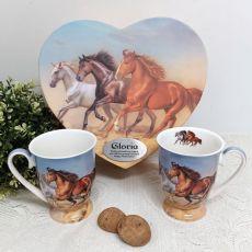 Retirement Mug Set in Personalised Heart Box - Horse