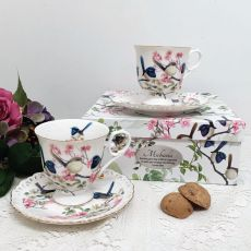 Cup & Saucer Set in Personalised 21st Birthday Box - Blue Wren