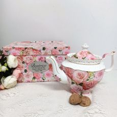 Teapot in Personalised 70th Gift Box - Enduring Rose