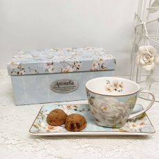 Breakfast Set Cup & Sauce in Personalised Retirement Box - White Rose