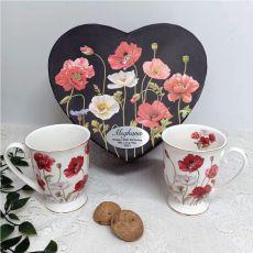 Poppies Mug Set in Personalised 50th Birthday Box