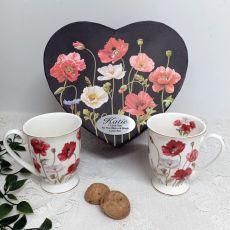 Poppies 2pcs Mug Set in Personalised Heart Box