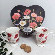 Poppies Mug Set in Personalised Gift Box - Retirement