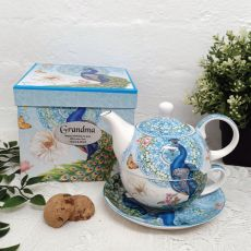 Peacock Tea for one in Personalised Grandma Gift Box